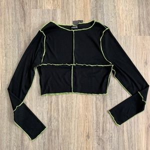 Black Cropped Top with Black and Neon Green